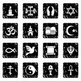 Religion icons set grunge vector. Religion icons set vector grunge isolated on white background Stock Photography