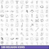 100 religion icons set, outline style Royalty Free Stock Photos
