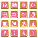 Religion icons set pink square vector. Religion icons set vector pink square isolated on white background Royalty Free Stock Photos