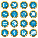 Religion icons set, simple style. Religion icons set. Simple illustration of 16 religion vector icons for web Royalty Free Stock Photos