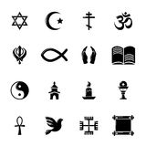Religion icons set, simple style. Religion icons set. Simple illustration of 16 religion vector icons for web Royalty Free Stock Image