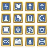 Religion icons set blue square vector. Religion icons set vector blue square isolated on white background Stock Photos