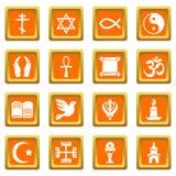 Religion icons set orange square vector. Religion icons set vector orange square isolated on white background Stock Images