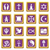 Religion icons set purple square vector. Religion icons set vector purple square isolated on white background Stock Photography