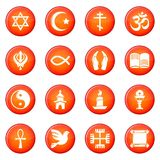 Religion icons set red vector. Religion icons set vector red circle isolated on white background Royalty Free Stock Images