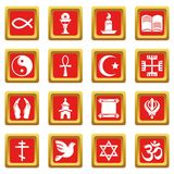 Religion icons set red square vector. Religion icons set vector red square isolated on white background Royalty Free Stock Photos