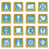Religion icons set sapphirine square vector. Religion icons set vector sapphirine square isolated on white background Stock Images