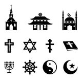 Religion icons vector set. Cross and church, bible and christianity, catholicism traditional illustration Royalty Free Stock Photography