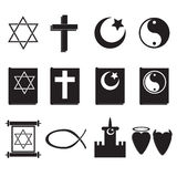 Religion icons. On a white background with shadow royalty free illustration