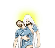 Religion illustration with Jesus Christ Royalty Free Stock Image