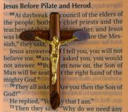 Religion: Jesus Christ passages according the the Gospel of Luke Stock Photo