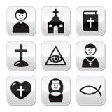 Religion, Knöpfe der katholischen Kirche eingestellt vektor abbildung