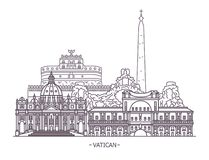 Religion landmarks of Vatican City. Vatican City landmark. Papal or saint Peter basilica, Vatican museum and tower, Rome church and Sala Clementina. Church and stock illustration