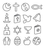 Religion Line Icons Royalty Free Stock Image