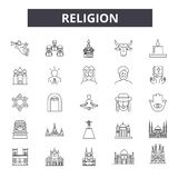 Religion line icons, signs, vector set, linear concept, outline illustration. Religion line icons, signs, vector set, outline concept linear illustration royalty free illustration
