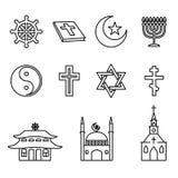 Religion line icons vector set Stock Photo