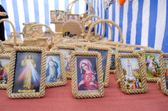 Religion maria jesus picture icon frame market Royalty Free Stock Images