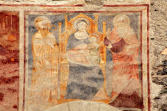 Religion medieval fresco on the church wall, Italy Royalty Free Stock Photo