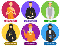Religion ministers icons. Royalty Free Stock Photo