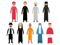 Religion ministers set, representatives of buddhism, representatives of catholicism, islam, orthodoxy, hinduism, judaism. Religions vector Illustrations vector illustration