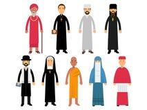 Religion ministers set, representatives of buddhism, representatives of catholicism, islam, orthodoxy, hinduism, judaism. Religions vector Illustrations Stock Photos