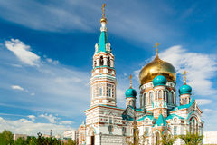 Religion orthodox church. Religion, orthodox church under a bright sun on a summer day, blue sky Stock Photos