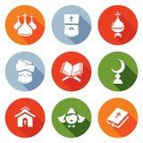 Religion Orthodoxy, Islam, Catholic Icons Set. Vector Illustration. Stock Photo
