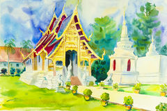 Religion painting colorful of pagoda in temple. And emotion in blue background, Watercolor original painting royalty free illustration