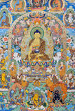 Religion painting, Tibet, China. Tibet culture, traditional artwork as painting, named Tangka, with Buddha and religion symbol Stock Images