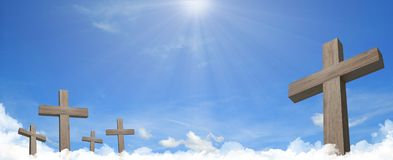 Heavenly cemetery crosses in the clouds panorama vector illustration