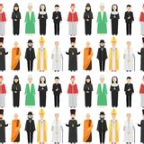 Religion people characters vector group of different nationalities human wearing traditional clothes seamless pattern. Religion people characters vector group of stock illustration