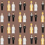 Religion people characters vector group of different nationalities human wearing traditional clothes seamless pattern. Religion people characters vector group of royalty free illustration