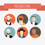 Religion People Icons. People of different religion in traditional clothing. Islam, judaism, buddhism, christianity, hinduism, amish. Religion vector symbols and Royalty Free Stock Images