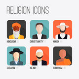 Religion People Icons. People of different religion in traditional clothing. Islam, judaism, buddhism, christianity, hinduism, amish. Religion vector symbols and Stock Image