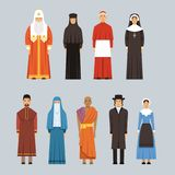 Religion people set, men and women of different religious confessions in traditional clothes Royalty Free Stock Images