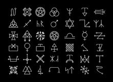 Religion and philosophy, spirituality or occultism. Big set of religion and philosophy, spirituality and occultism icons. Pentagram and star, magic and mystery royalty free illustration