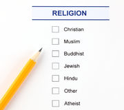 Religion questionnaire royalty free stock image