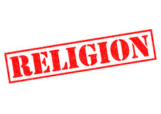 RELIGION. Red Rubber Stamp over a white background Stock Image