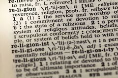 Religion reverence faith devotion dictionary. Definition word committment stock photography