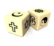 Religions Dices. Two 3d models of dices with a white background. In every faces there is a different religion symbol Stock Photo