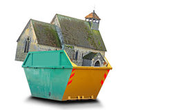 Religion in a skip. Conceptual photo of a church in a skip depicting the loss of spirituality and lack of spiritual guidance royalty free stock photos