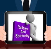 Religion And Spirituality Book With Character Displays Religious Royalty Free Stock Images