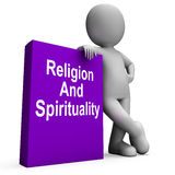 Religion And Spirituality Book With Character Shows Religious Sp Royalty Free Stock Image