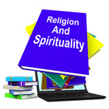 Religion And Spirituality Book Laptop Stack Shows Religious Spir Royalty Free Stock Photo