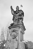Religion Statue. Statue on Charle's bridge, Prague. Czech Republic. Black and white Stock Images