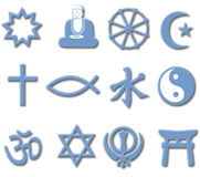 Religion Symbol Set 3D major world religions. Drop shadows add depth to collection of symbols of major World Religions useful as an icon set Royalty Free Stock Images