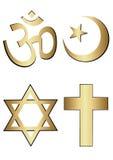 Religion symbols. Four golden religion symbols  in white background eps Royalty Free Stock Photos