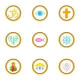 Religion symbols icons set, cartoon style Royalty Free Stock Images