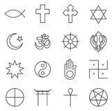 Religion Symbols Icons Thin Line Vector Illustration Set. This image is a vector illustration and can be scaled to any size without loss of resolution Royalty Free Stock Image