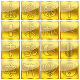 Religion Symbols Religious Glossy Gold Icons Royalty Free Stock Photography